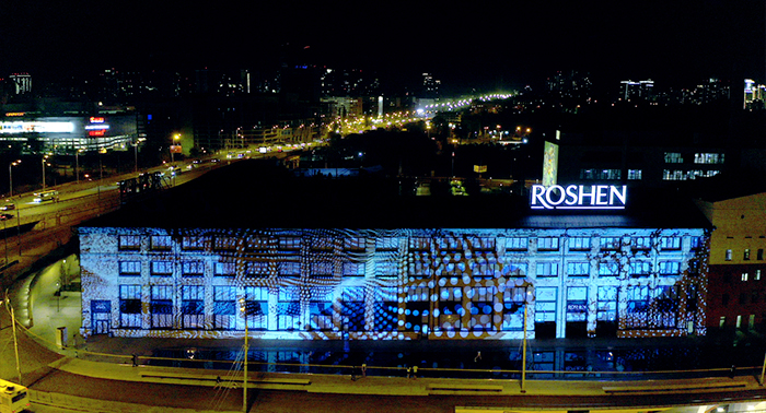 Projection Mapping at Roshen Factory
